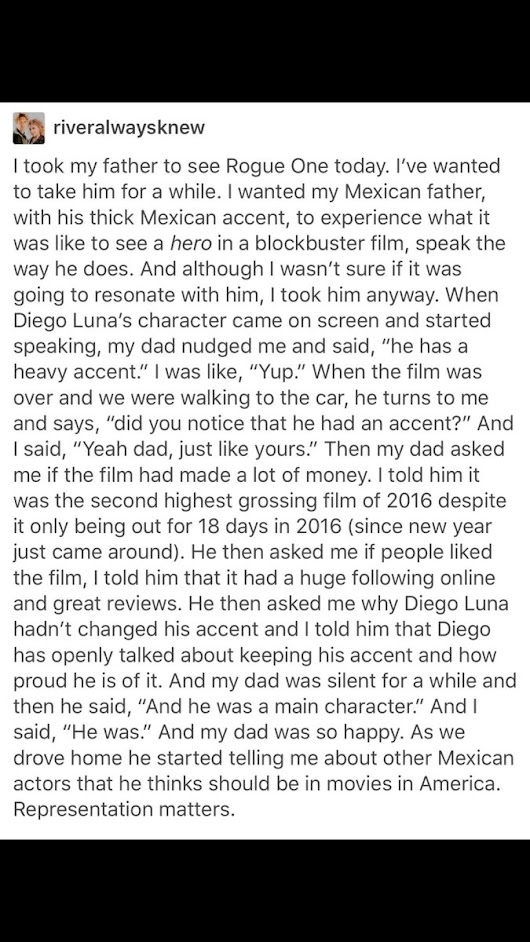 "diego luna on Twitter: ""I got emotional reading this! #RogueOneStarWars """