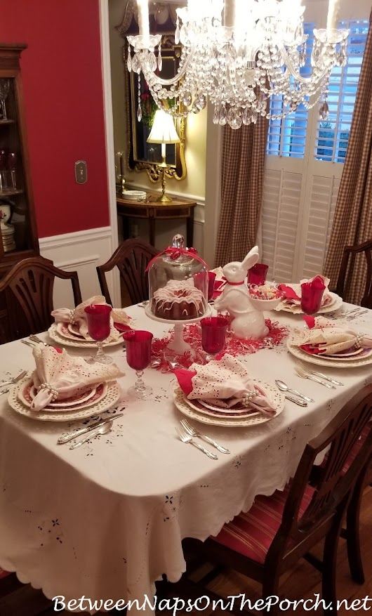 Valentine's Day Table Setting with a Guest Appearance by the Easter Bunny