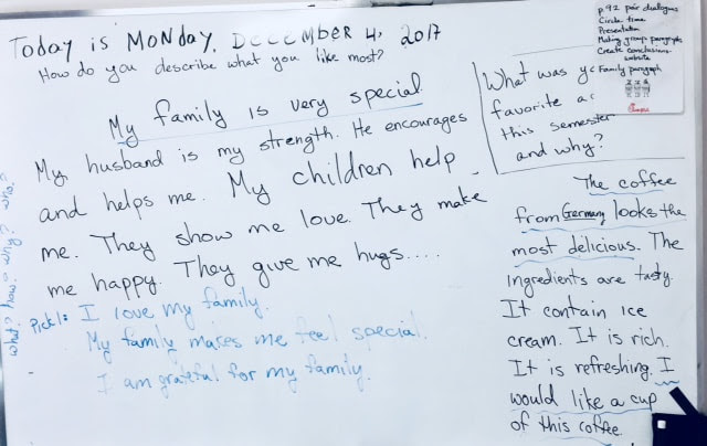 Monday December 4 Our Wonderful Family Paragraphs