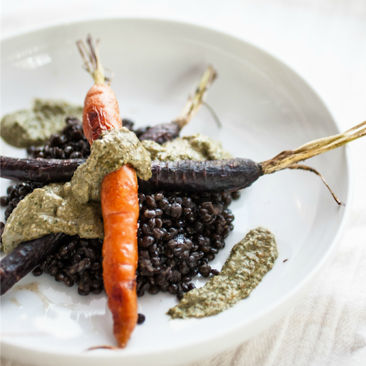 Roasted Carrots & Beluga Lentils with Carrot Greens Pesto