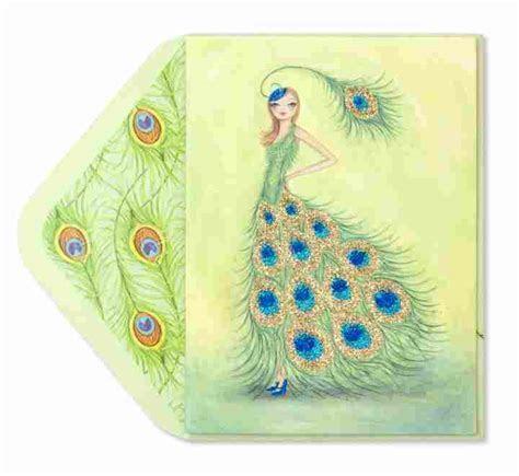 Bella Pilar Peacock Girl   Birthday Cards   PAPYRUS