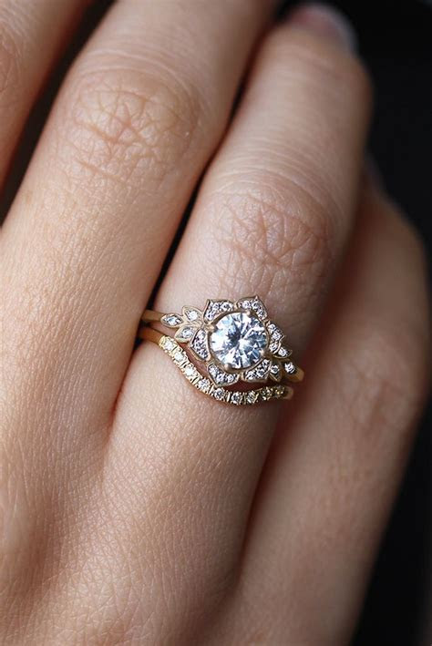 Lilly Flower Unique Diamond Engagement Ring   Jewelry in