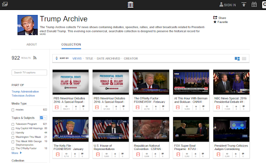 How to Use the Trump Archive to find TV news appearances, fact checks, and share clips | Internet Archive Blogs
