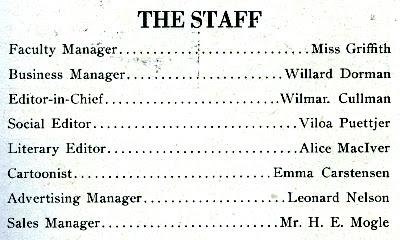 HHS 1919 Aurora staff roster