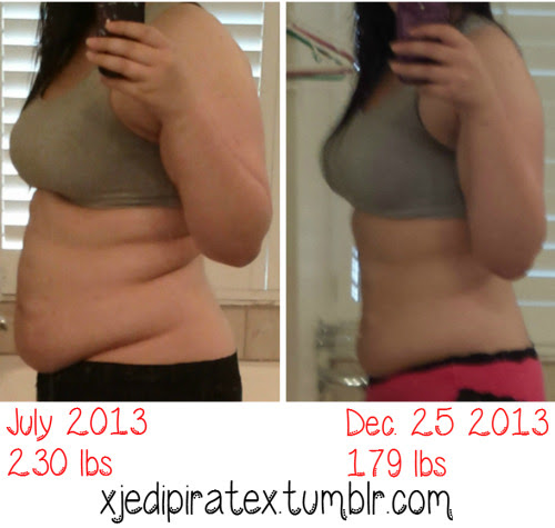 "xjedipiratex Height: 5'7""This picture is so emotional for me.This whole journey didn't start out as a weight loss mission, although I had hoped losing weight would be a benefit from it. My mental health was worsening and I had been struggling with depression for years.Back in July I had made a promise: to take care of myself in every way possible. I sought out what I could control in my life, worked on changing my thoughts and how I viewed myself, and started taking care of my body. And I'm so happy I stuck with it even when it got emotionally difficult. I used to think that I would never post a picture with so much skin showing. But I love both of these pictures here, even though I hated the first one in the beginning. Part of me wants to go back and give my old-self the biggest hug possible.I'm always looking for new friends on this journey, so feel free to say hi! ^_^ My favorite part about tumblr is meeting and talking with people who are also seeking to better themselves. This community has been so, so encouraging! :)http://xjedipiratex.tumblr.com/"