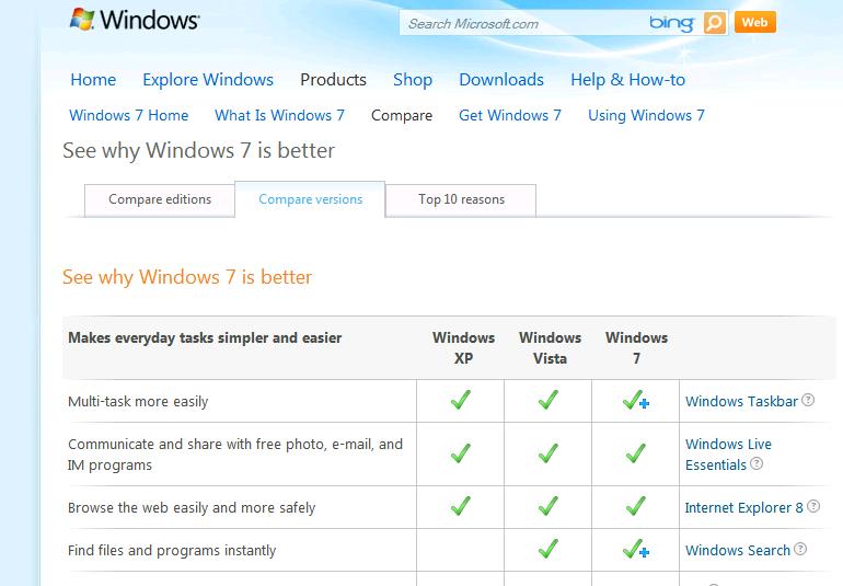compare windows 7 versions