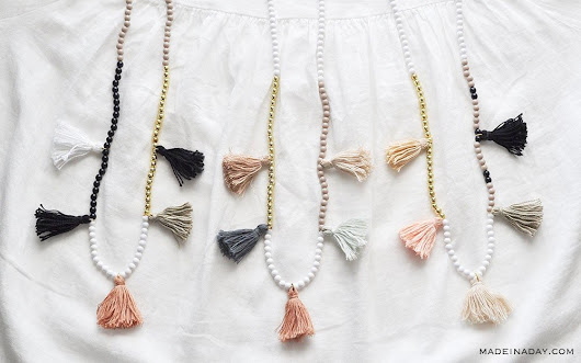 DIY White Gold Color Block Tassel Necklaces