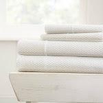 Merit Linens Premium Ultra Soft 4 Piece Stippled Pattern Bed Sheet Set Light Grey Queen Deep Pocket, Extra Deep Pocket