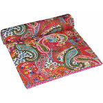 Indian Kantha Quilt Cotton Fabric Throw Blanket Paisley Print Queen Bedding New