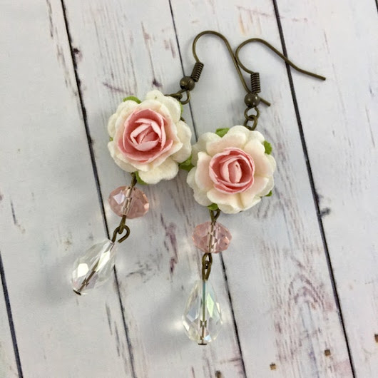 Pink Paper Rose and Crystal Earrings // by MonicaRudyJewelry