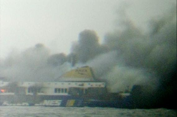 The car ferry Norman Atlantic burns in waters off Greece in this still image from video December 28, 2014. REUTERS/Skai TV via Reuters TV