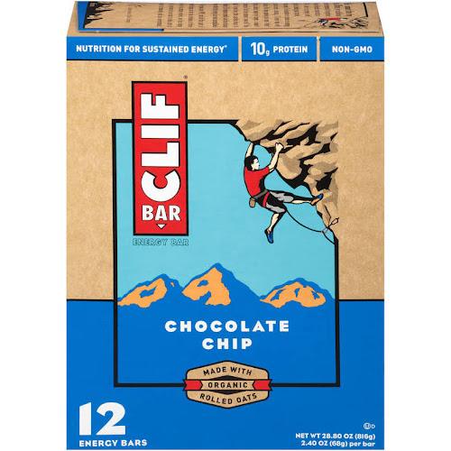 Clif Energy Bar, Chocolate Chip - 12 pack, 2.4 oz bars