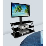 Mount-It! MI-864 TV Stand Entertainment Center with Mount and Storage Shelves, Fits 32 to 60 inch Screens, White