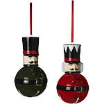 2pc Christmas Nutcracker Toy Soldier Bell Ornament Classic Red Black Holiday Set