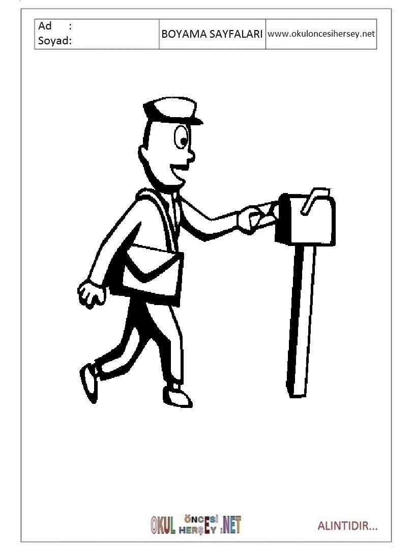 Postacı Boyama Sayfaları