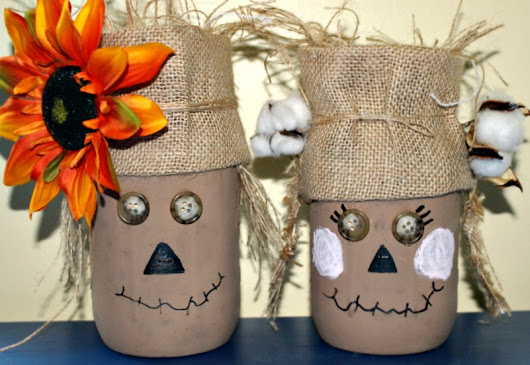 Easy To Make Mr & Mrs Scarecrow Mason Jar