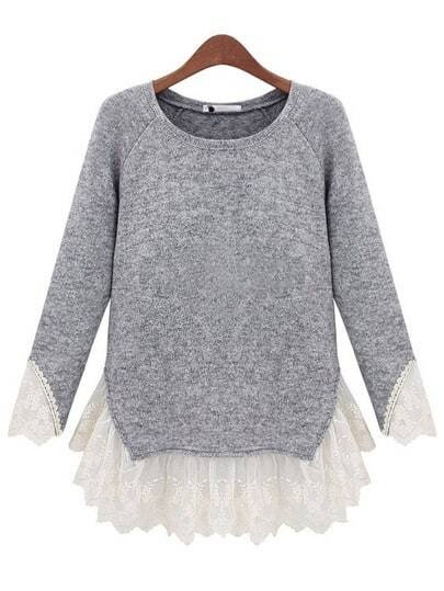 Grey Long Sleeve Contrast Lace Knit Sweater pictures