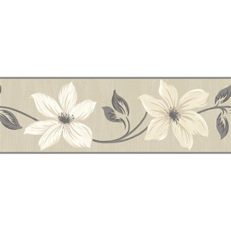 gray  cream wallpaper border fine decor lily floral