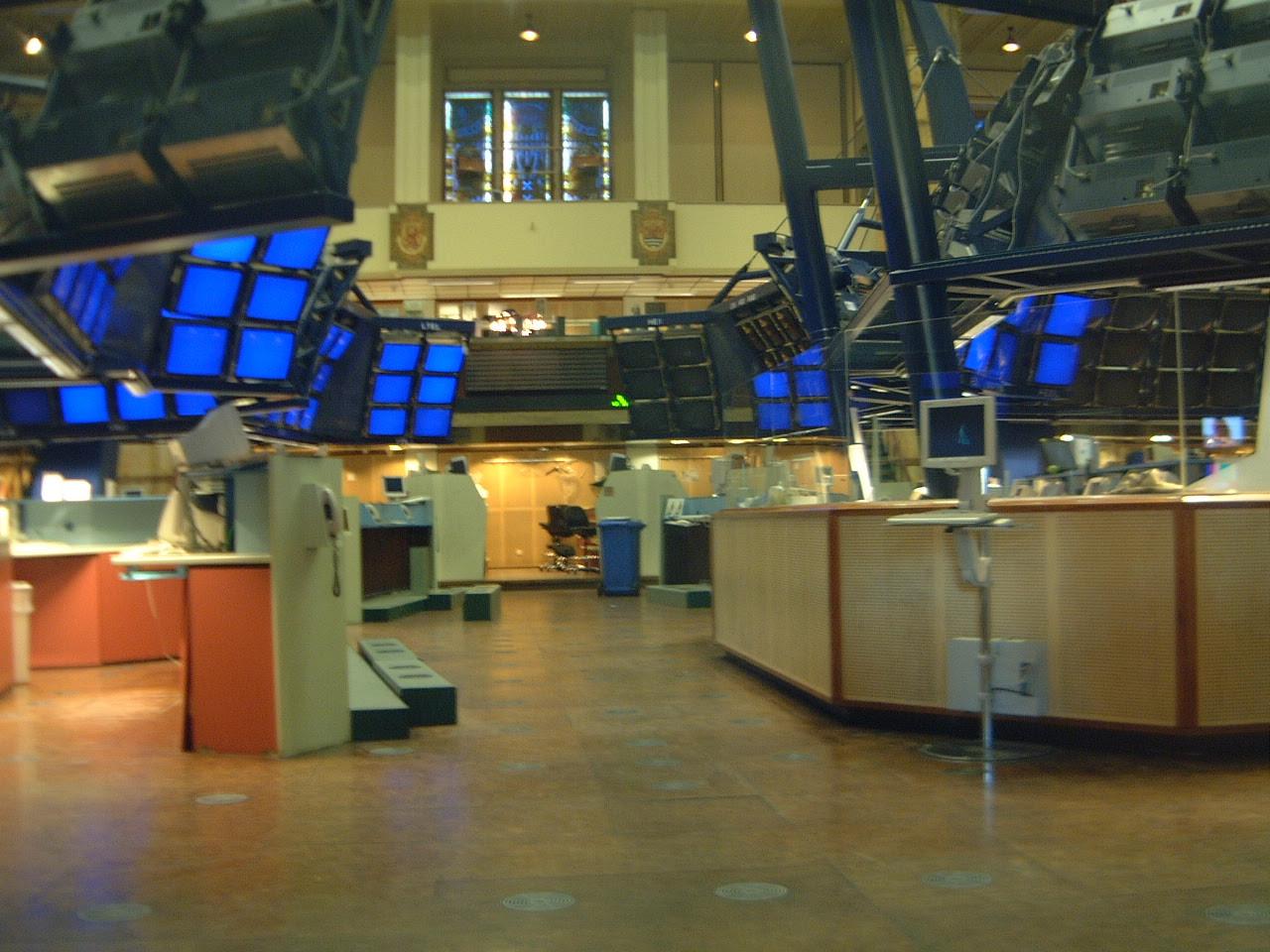 maartent stock exchange blue screens monitors empty floor trading aex amsterdam