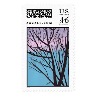 Expressions postage stamp, Night tree painting stamp