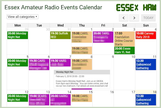 Essex Amateur Radio Events Calendar