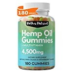 Hemp Gummies for Pain and Anxiety. 180 Hemp Gummy Bears with 25 Milligrams of Hemp Oil per Gummy, 4,500 Milligrams Total. Plus Multi-Vitamins for Overall Health. No THC Gummies