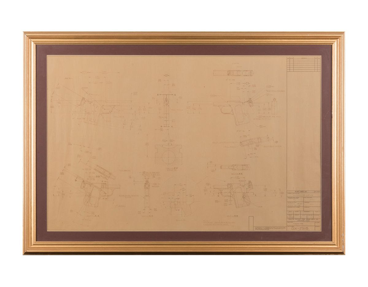 Original Framed And Matted Blueprint For Frame Of Colt 25 Semi Auto