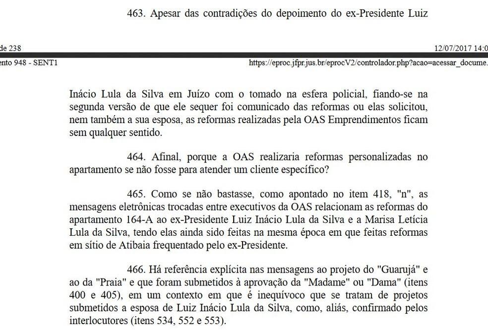 Moro aponta contradições do ex-presidente em relação à reforma do triplex (Foto: Reprodução)