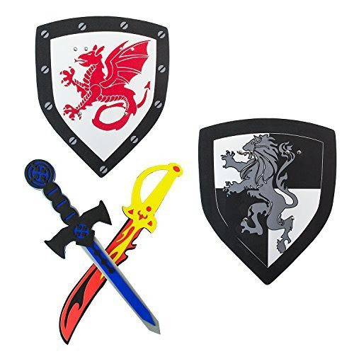 Children's Foam Toy Medieval Joust Dual Dragon Sword & Shield Knights Set Lightweight Safe for Birthday Party Activities, Event Favors, Toy Gifts by Super Z Outlet®