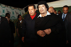 Reunión con el presidente de Libia Muammar Al-...