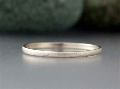 14k White Gold Thin Wedding Band   Solid gold 1.5mm half