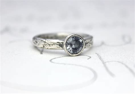 blue grey spinel engagement ring unique  peacesofindigo