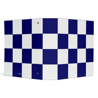Checkered Navy and White Binder