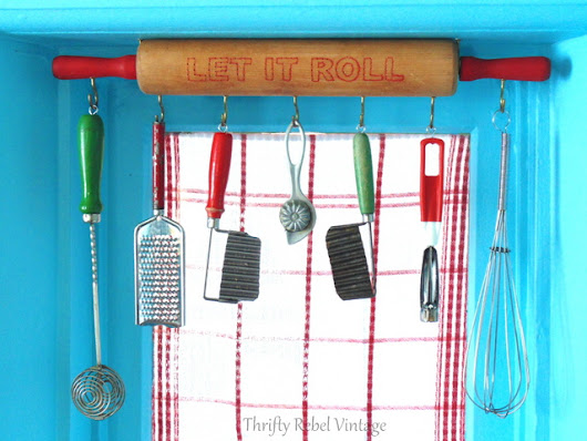 Repurposed Rolling Pin Window Valance - Thrifty Rebel Vintage