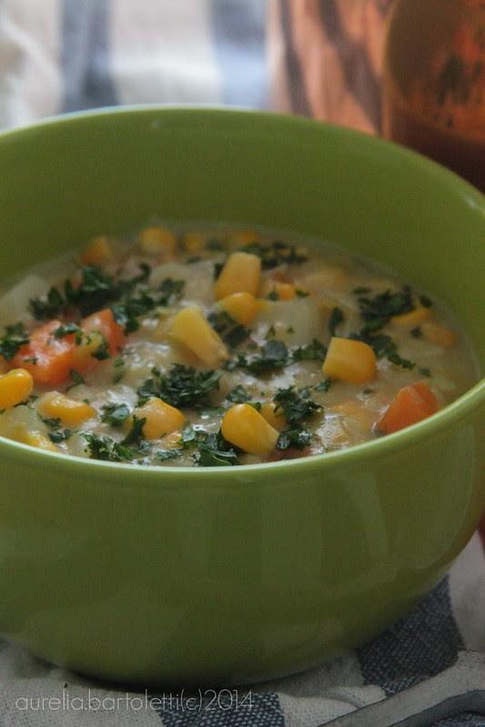 zuppa di porri patate e mais
