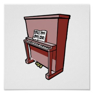 grand upright piano with music.png print