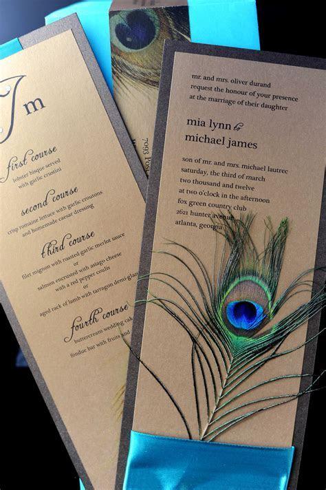 peacock wedding invitation