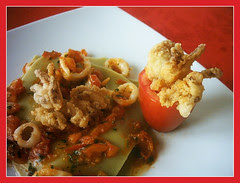 Lasagnette verdi con ragù di S. Marzano e calamari