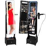 Best Choice Products Full Length LED Mirrored Jewelry Storage Organizer Cabinet w/ Interior & Exterior Lights - Black