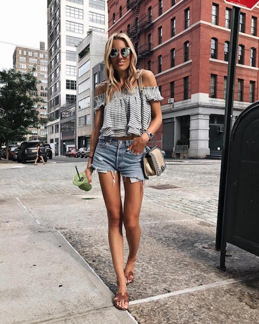Le Fashion Blog Easy Chic summer Outfit Off shoulder Top Denim Cut Off Shorts Brown Flat Sandals Via @Lisadnyc