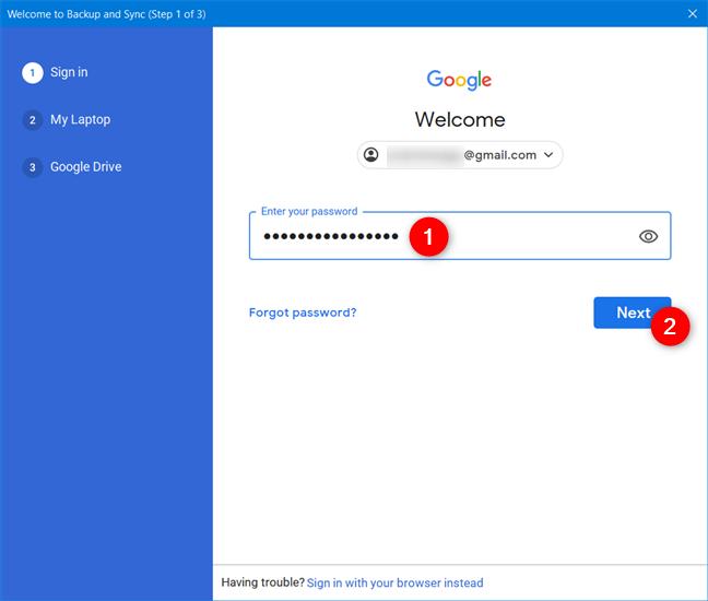 Ingrese la contraseña de su cuenta de Google