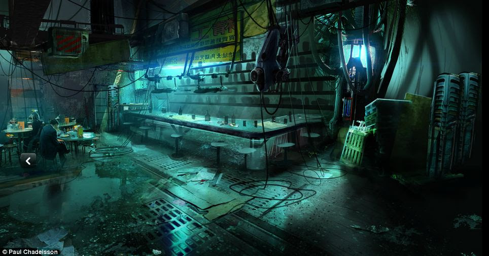 Smart cities? Mr Chadeisson's illustrations of the city are set in 2084 and he writes in a blog post that in the city, augmented reality and memory manipulation have taken control of Parisians' lives. His drawings also feature details such as the inside of a factory (pictured)
