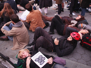 Occupy Wall Street protesters regroup in Foley Square after New York City police in riot gear removed the protesters from Zuccotti Park early Tuesday. The evacuation followed similar moves in Oakland, Calif., and Portland, Ore.