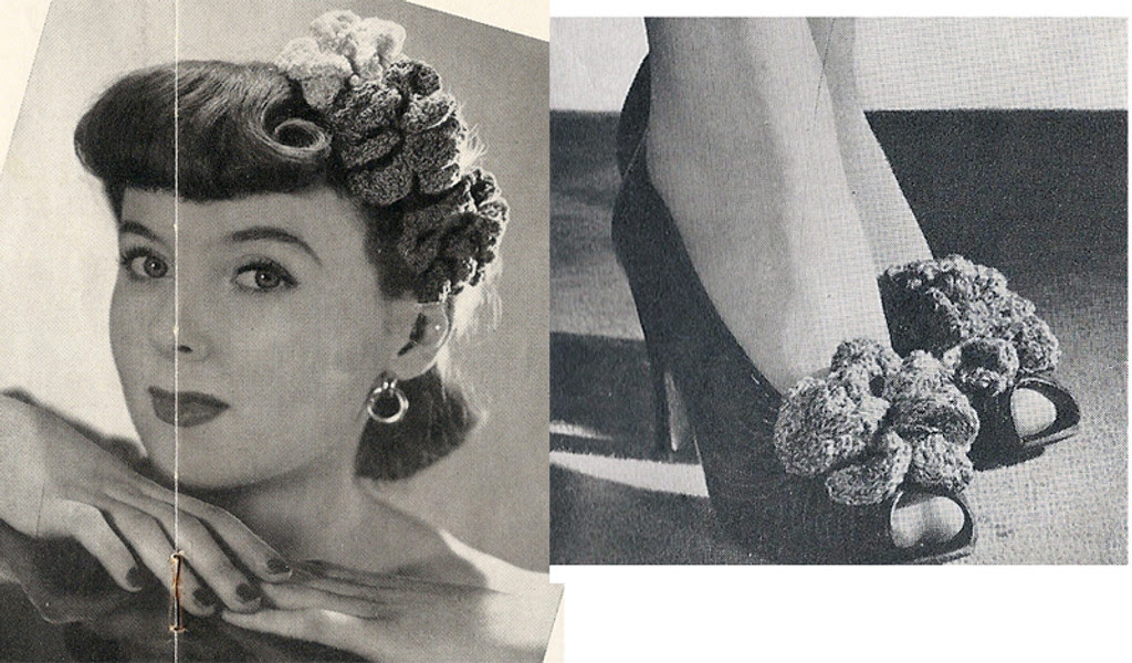 Vintage 1940s Crochet Flower Accessory Pattern