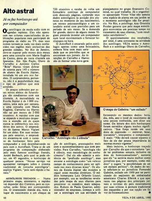 mapa carvalhos Um clássico: na Veja de 1980, o astrólogo Olavo de Carvalho  mapa carvalhos