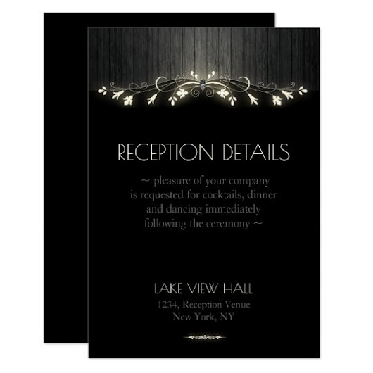 Glowing black & white wedding reception card hhn02