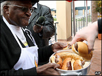 Archbishop Desmond Tutu at a barbecue outside his office