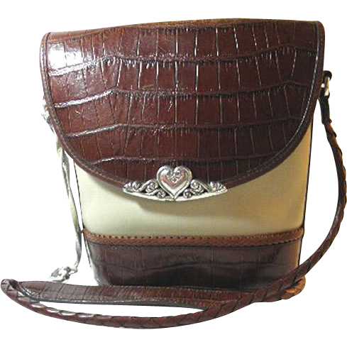 Brighton Western Cream and Brown Vintage Purse with Canvas, Mock Croc Leather, & Silver Tone Metal Decor 1990's from Newprairiestore at Ruby Lane