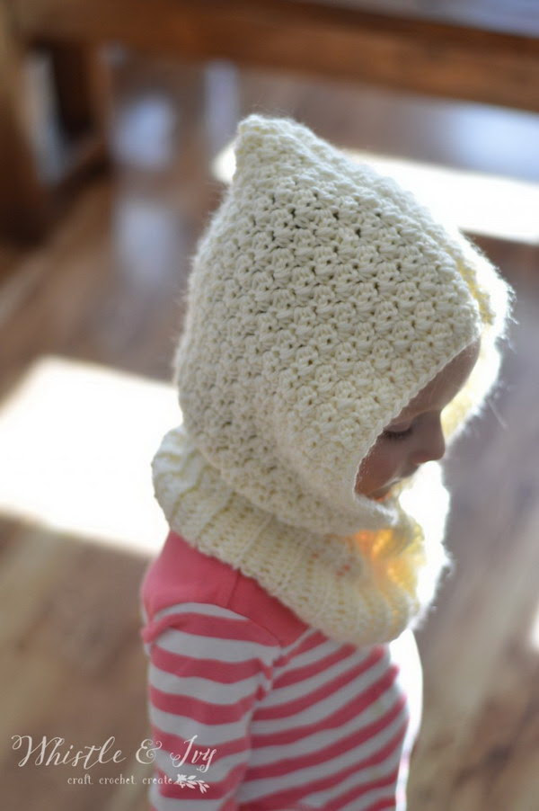 Crochet Toddler Hooded Cowl.