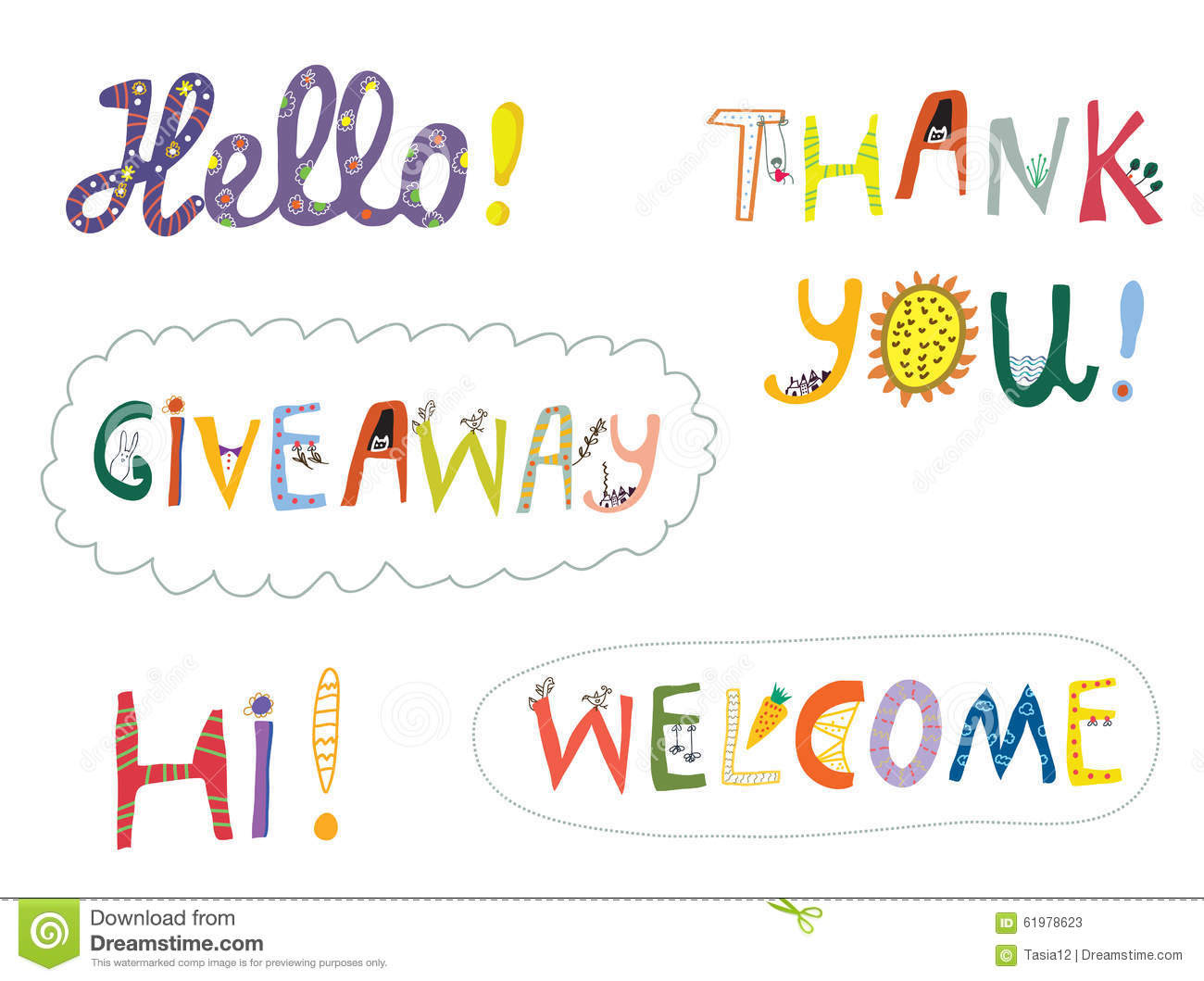 hello welcome other greeting words design set illustration 61978623